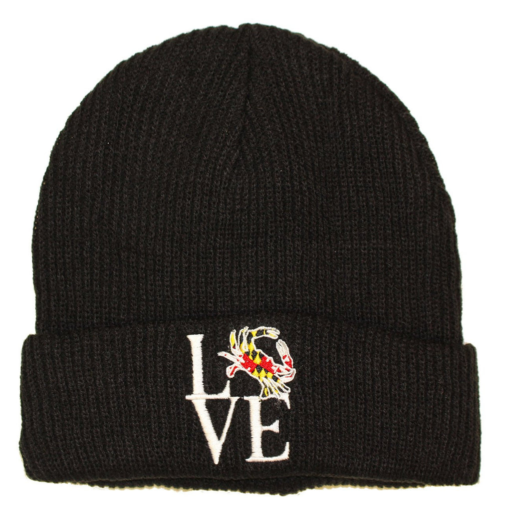 Maryland Crabby Love (Black) / Slouchy Knit Beanie Cap