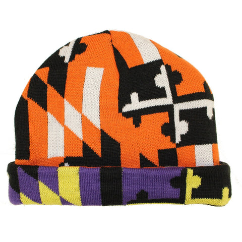 Baltimore Purple & Orange Maryland Flag / Reversible Knit Beanie Cap - Route One Apparel