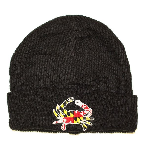 Maryland Full Flag Crab (Black) / Slouchy Knit Beanie Cap