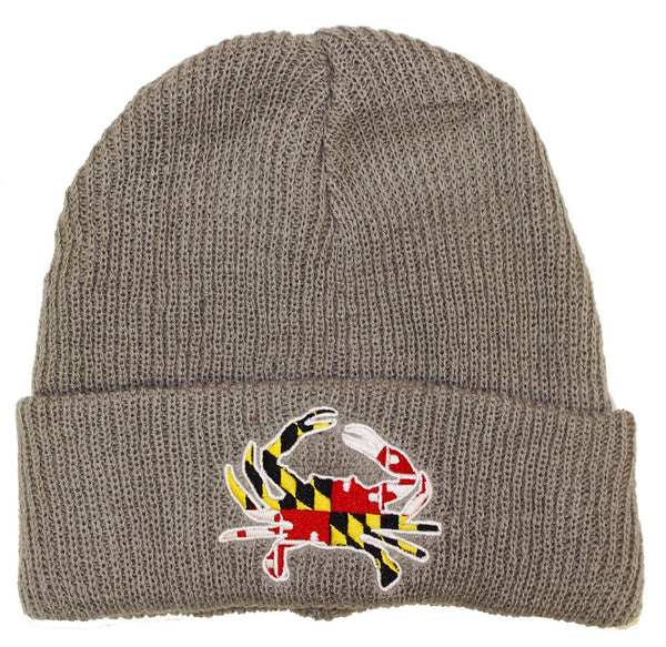 Maryland Full Flag Crab (Grey) / Slouchy Knit Beanie Cap