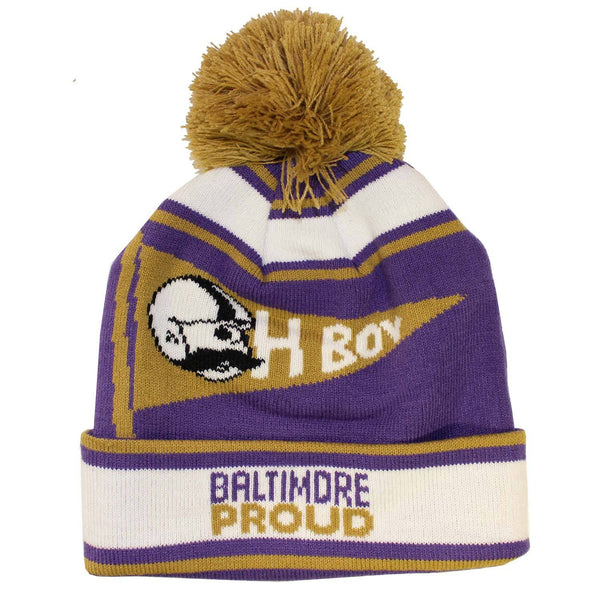 "Baltimore Proud ""Oh Boy"" Boh Pennant (Purple w/ Gold Pom) / Knit Beanie Cap"
