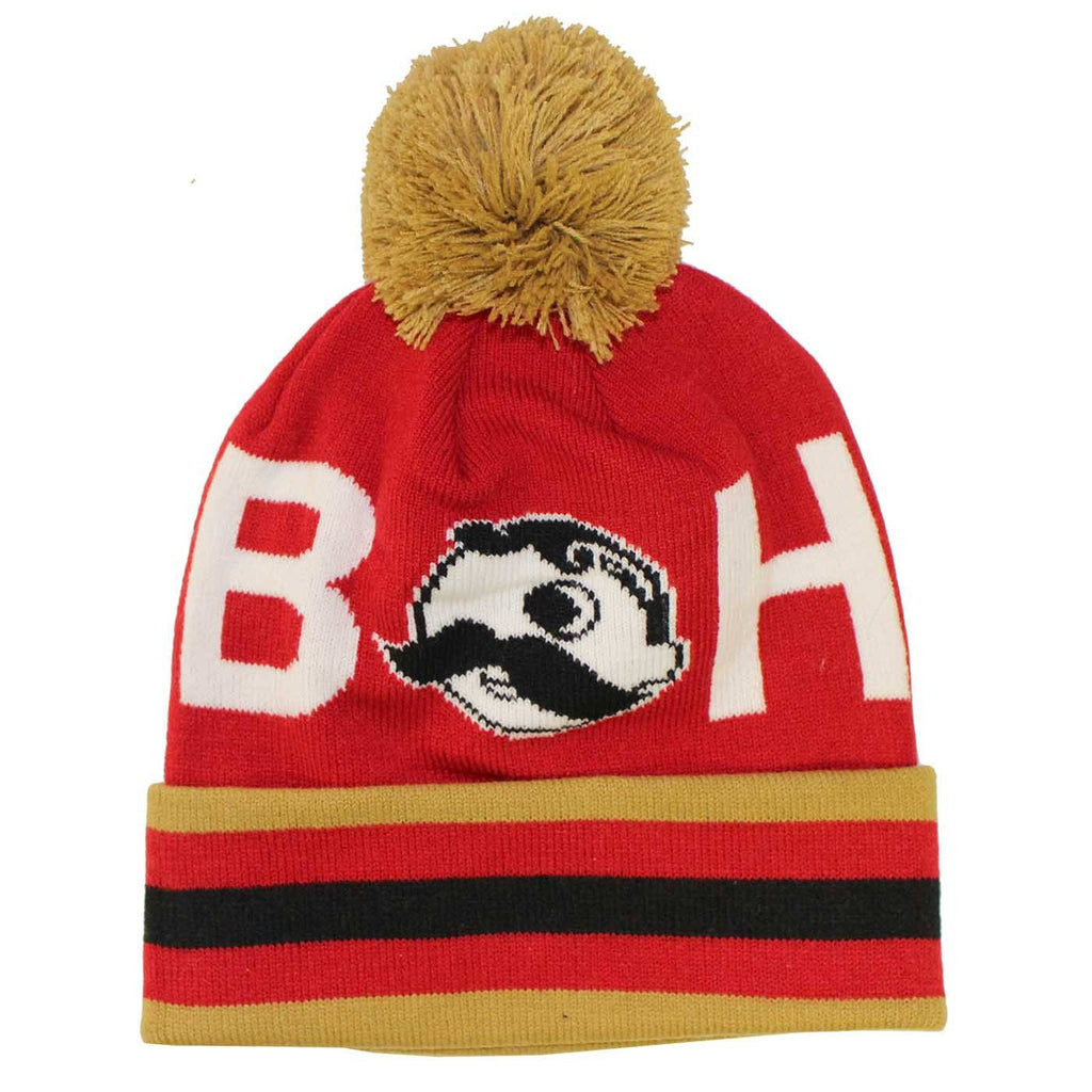 Boh Logo Text (Red w/ Gold Pom) / Knit Beanie Cap
