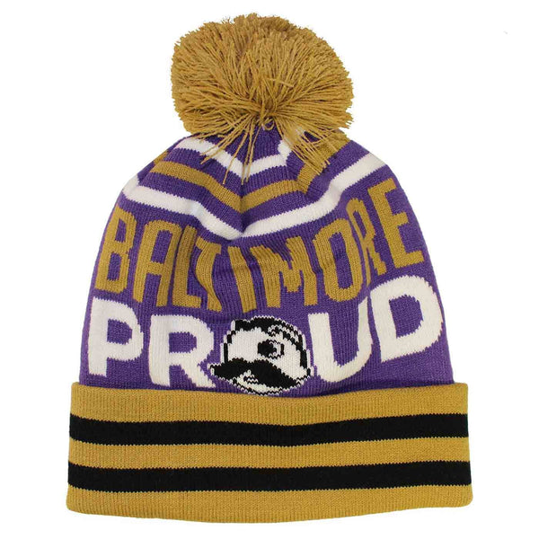 Baltimore Proud Boh Text (Purple w/ Gold Pom) / Knit Beanie Cap - Route One Apparel