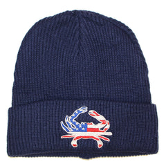 American Flag Crab (Blue) / Slouchy Knit Beanie Cap - Route One Apparel