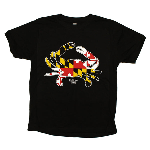 Maryland Full Flag Crab (Black) / *Youth* Shirt