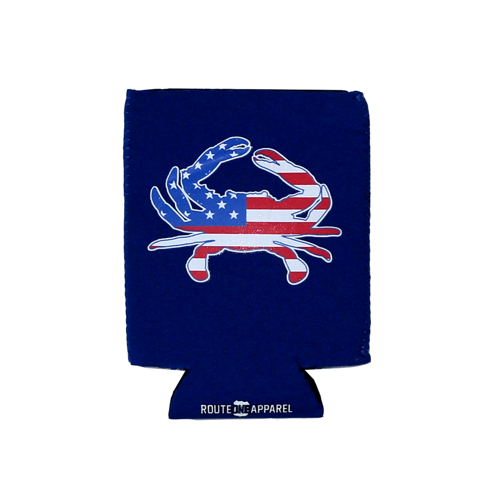 American Flag Crab (Blue) / Koozie - Route One Apparel