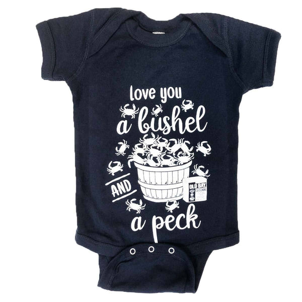 Love You A Bushel & A Peck (Navy) / Baby Onesie