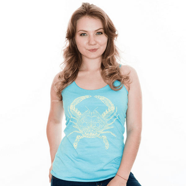Henna Crab (Teal) / Ladies Racerback Tank