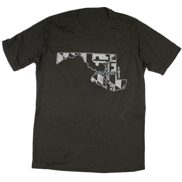 Blue Line State of Maryland (Black) / Shirt - Route One Apparel