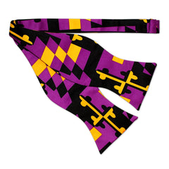 Baltimore Football Purple & Gold Maryland Flag / Self-Tie Bowtie - Route One Apparel