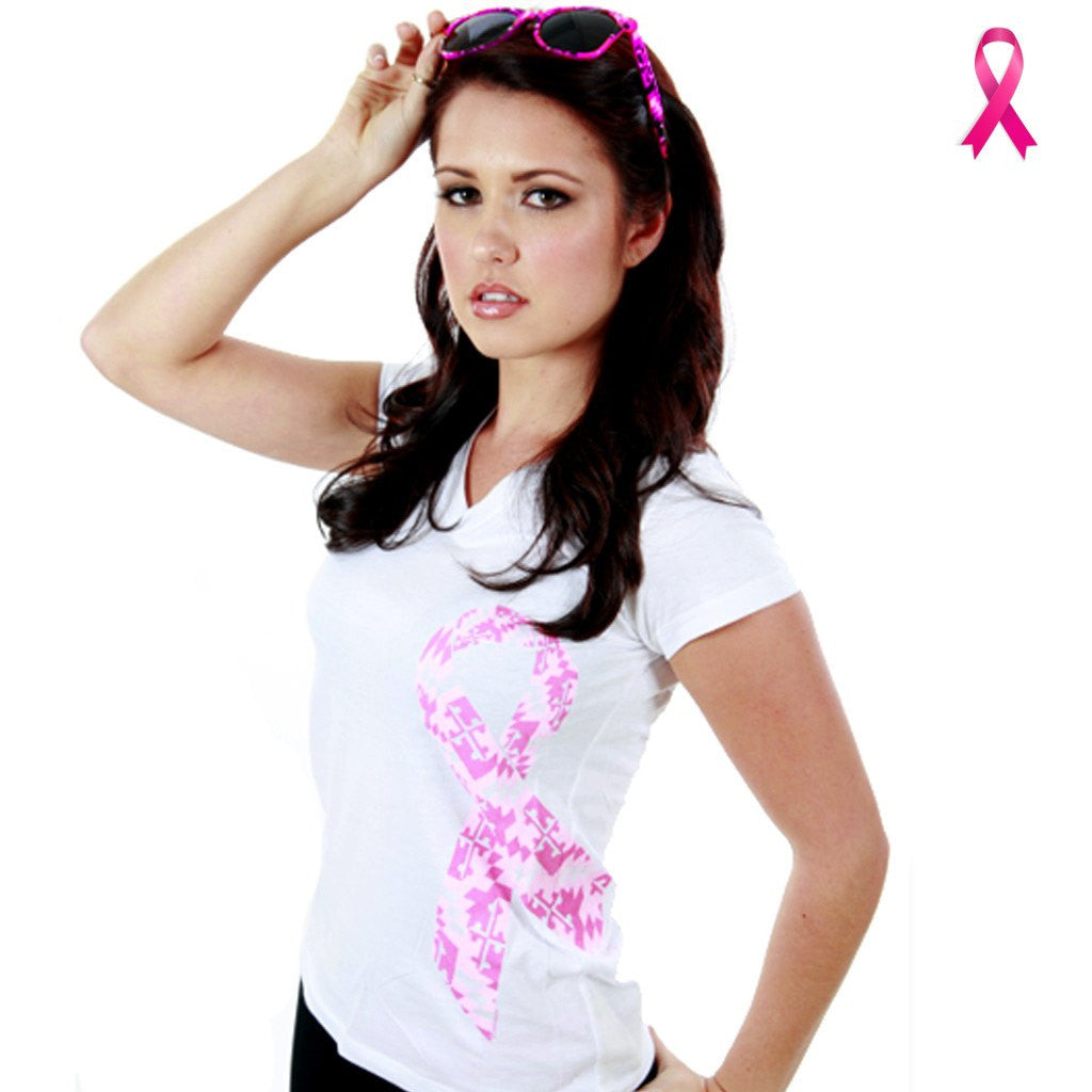 Maryland Breast Cancer Ribbon Awareness (White) / Ladies V-Neck Shirt