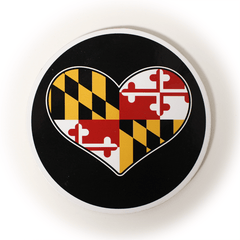 Maryland Flag Heart (Black) / Cork Coaster