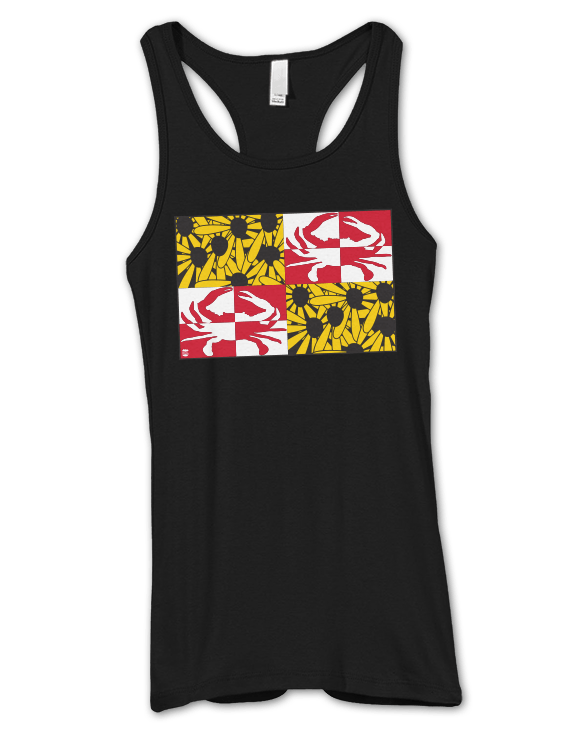 Crabby Susan Maryland (Black) / Ladies Racerback Tank