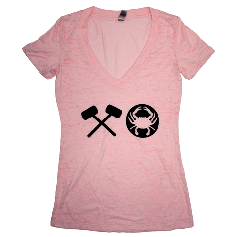 Crabby XO (Pink) / Ladies Deep V-Neck Shirt
