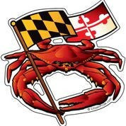 Red Crab & Waving Flag / Sticker