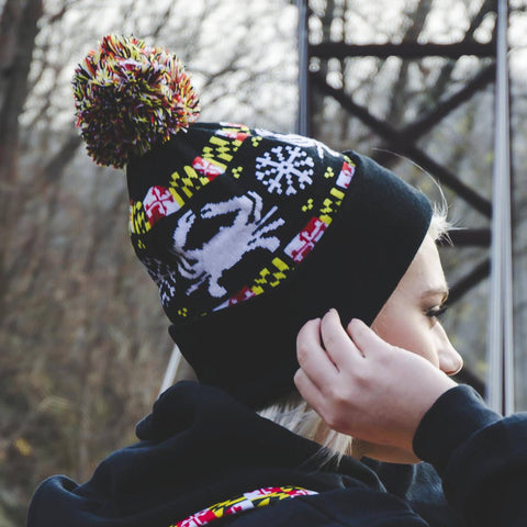 Maryland Flag Stripe, White Crab & White Snowflake (Black) / Knit Beanie Cap w/ Pom-Pom