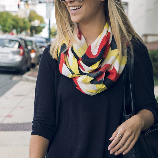 Chevron (Red, White, Yellow & Black) / Infinity Scarf - Route One Apparel