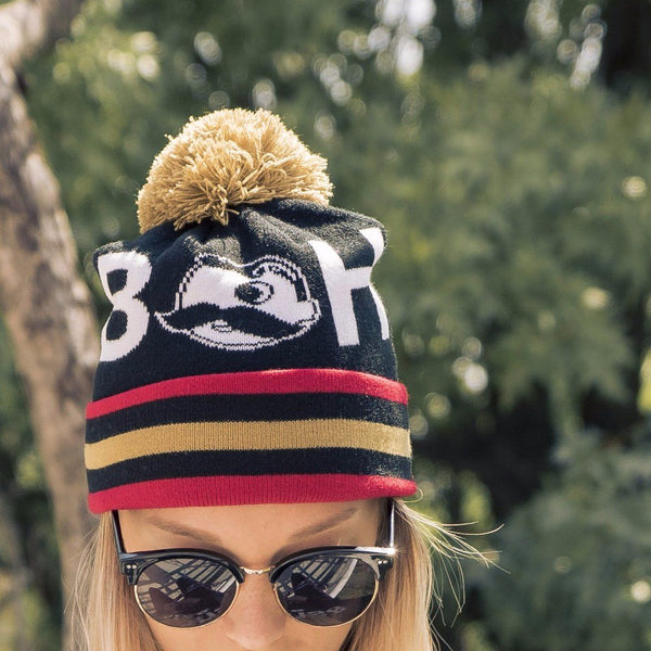 Boh Logo Text (Black w/ Gold Pom) / Knit Beanie Cap