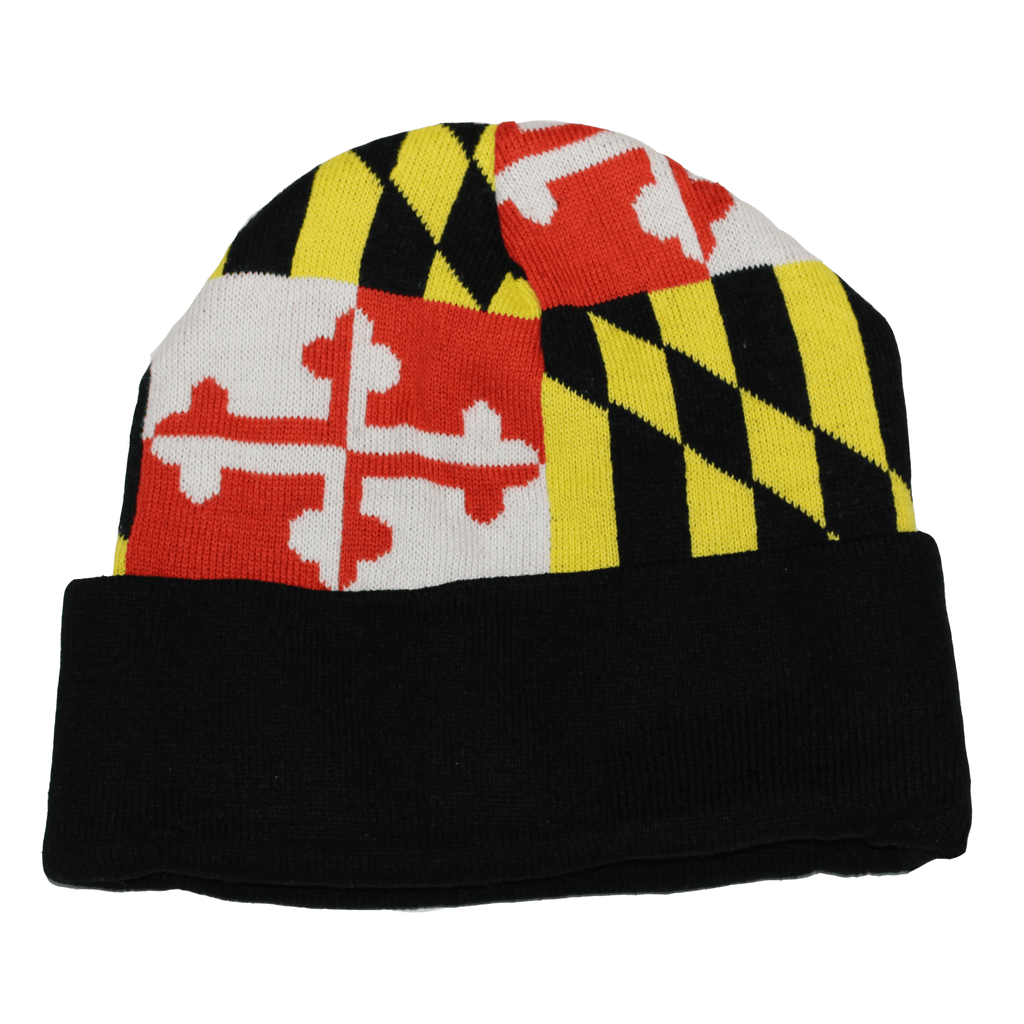 Full Maryland Flag (Black) / Knit Beanie Cap