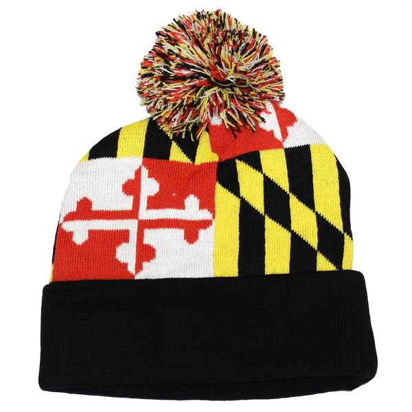 Full Maryland Flag (Black) / Knit Beanie Cap w/ Pom-Pom