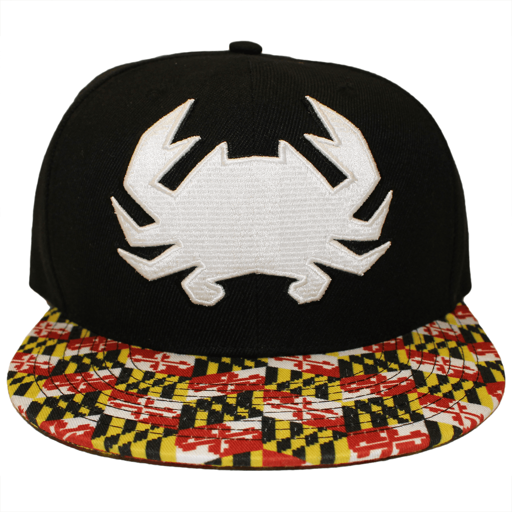 Geo Crab with Maryland Brim (Black) / Canvas Snapback Hat