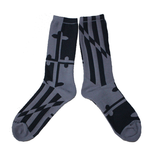 Greyscale Maryland Flag / Crew Socks