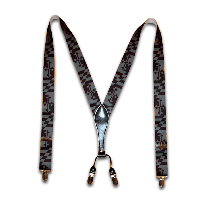 Greyscale Maryland Flag / Suspenders