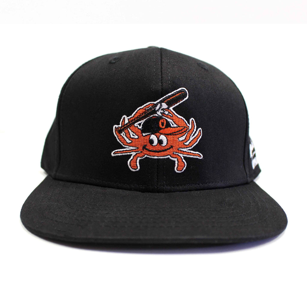Baseball Orange Crab (Black) / Canvas Snapback Hat - Route One Apparel