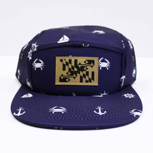 Nautical Crab & Anchor Design (Navy) / 5-Panel Hat