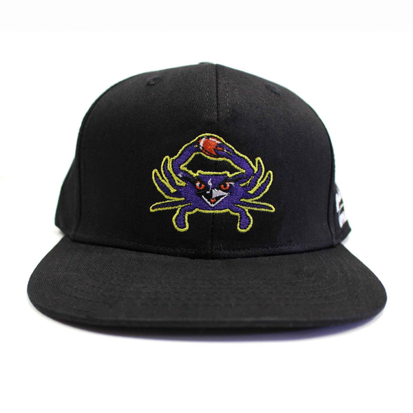 Baltimore Football Purple Crab (Black) / Canvas Snapback Hat - Route One Apparel