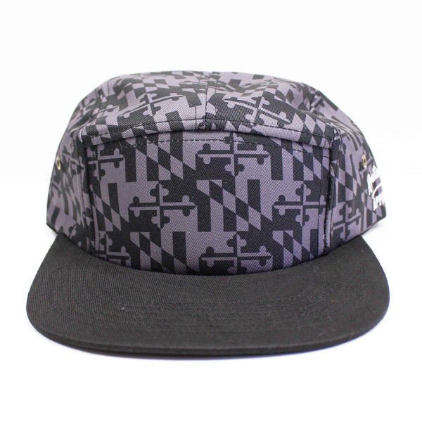 Greyscale Maryland Flag / 5-Panel Hat