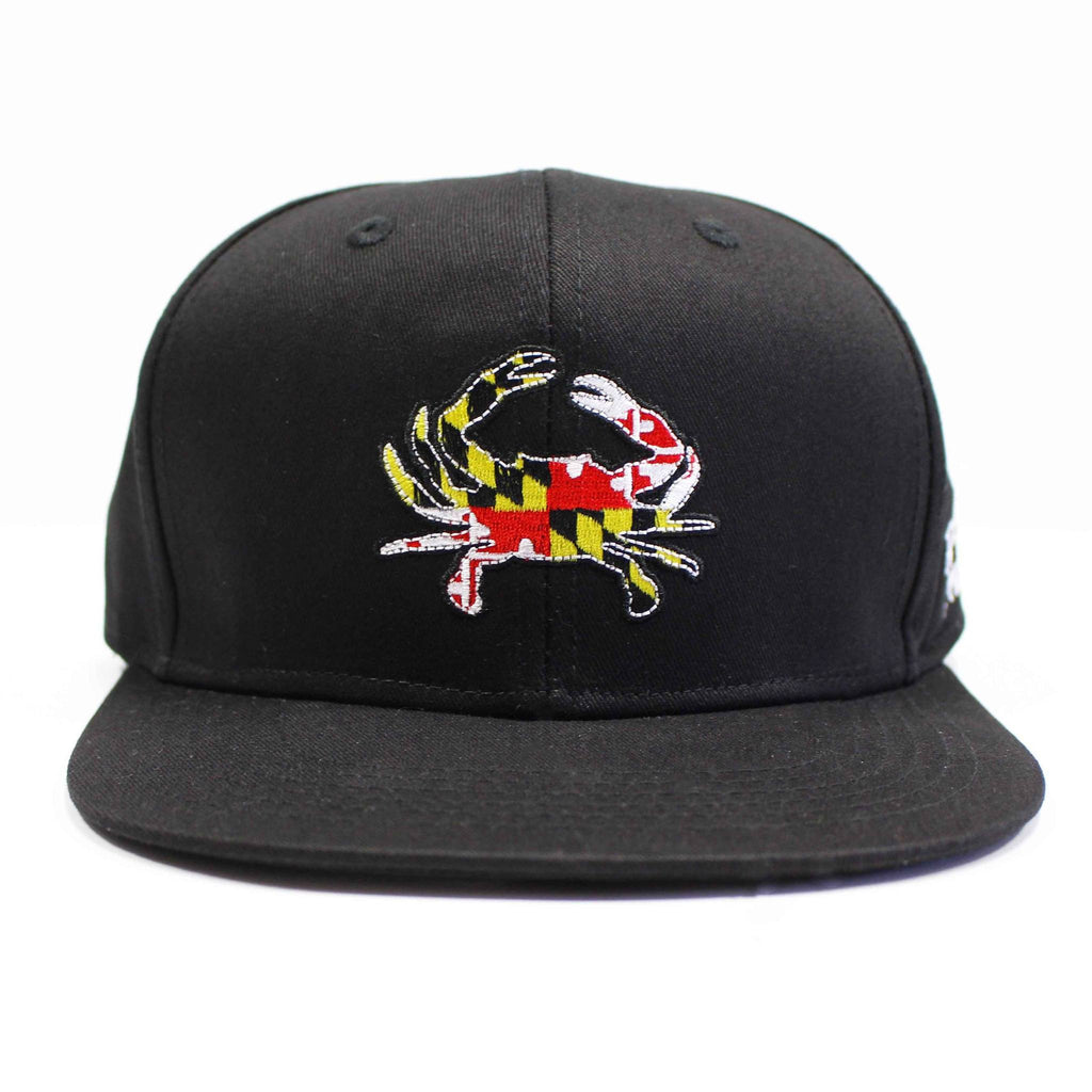 Maryland Full Flag Crab (Black) / Canvas Snapback Hat