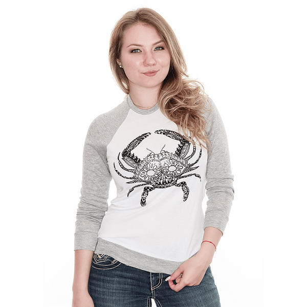 Henna Crab (White) / Ladies Long Sleeve Shirt