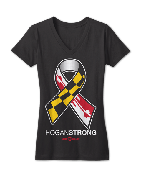 Hogan Strong (Black) / Ladies Deep V-Neck Shirt