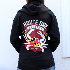 Route One Apparel Classic Flag & Crab (Black) / Zip Hoodie