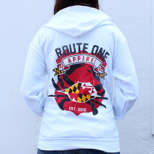 Route One Apparel Classic Flag & Crab (White) / Zip Hoodie