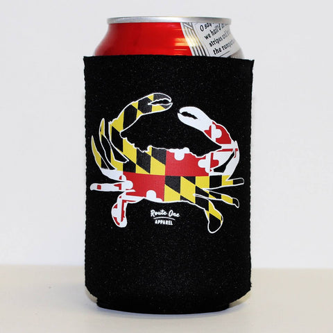 Maryland Full Flag Crab (Black) / Koozie