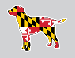 Dog Silhouette with Maryland Flag / Sticker