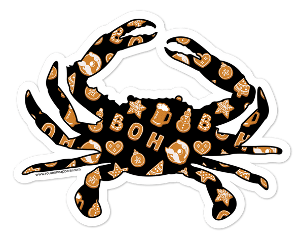 Natty Boh Christmas Cookie Crab (Black) / Sticker