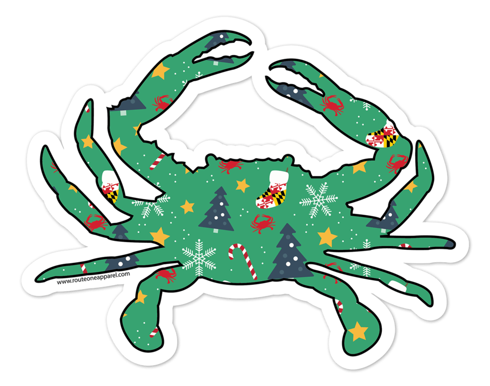 Maryland Stocking & Candy Cane Holiday Crab (Green) / Sticker