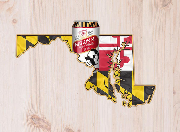 Natty Boh Can & Maryland Flag State / Aluminum Sign