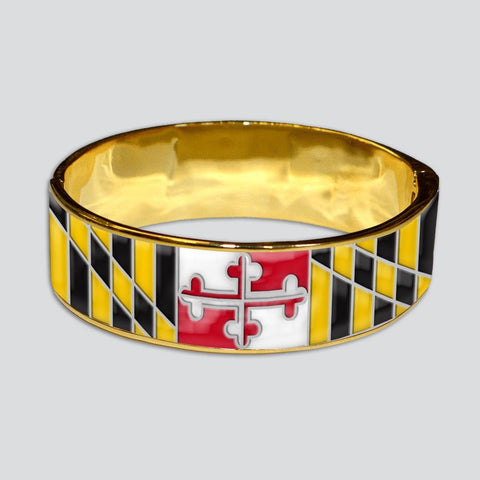 Enamel Maryland Flag (Gold) / Bangle Bracelet