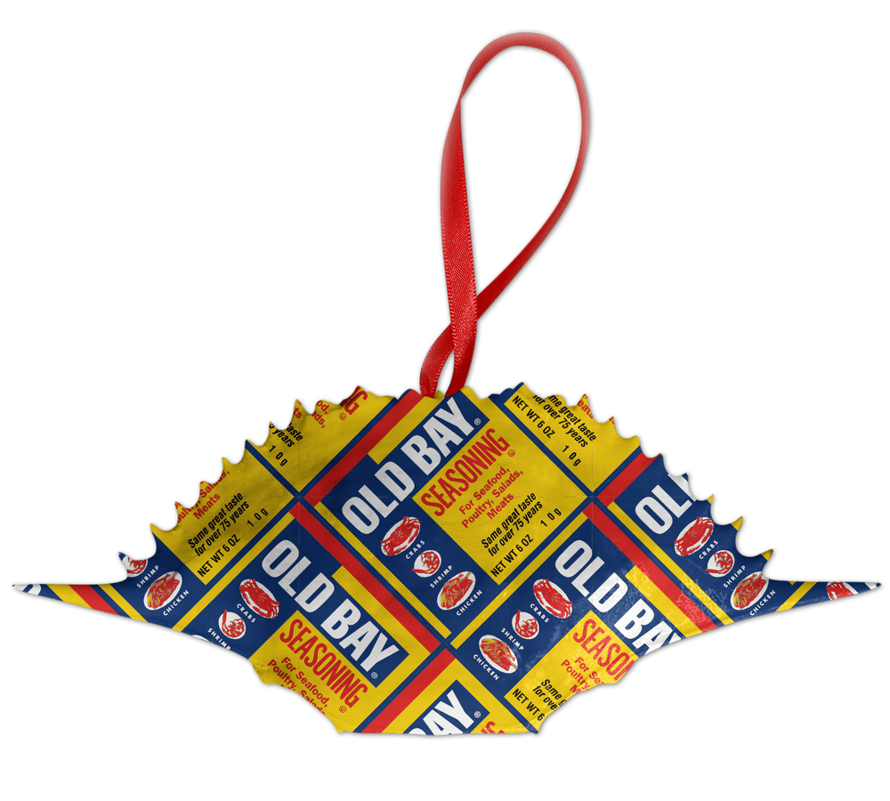 *PRE-ORDER* Full Old Bay Can Pattern /  Crab Shell Ornament (Estimated Arrival Date: 11/1) - Route One Apparel