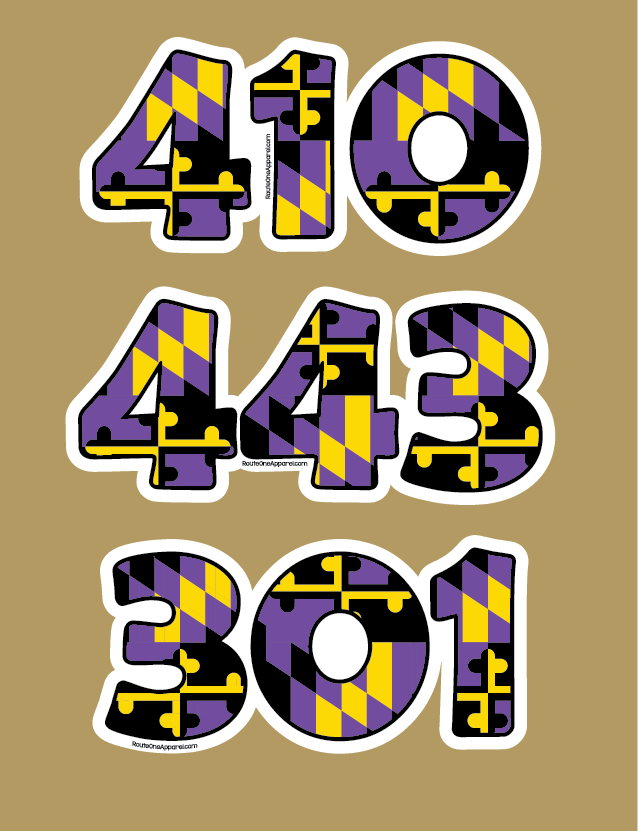 """301"" Baltimore Football Purple & Gold Maryland Flag / Sticker"