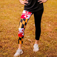 Maryland Flag Half Side (Black) / Workout Capris