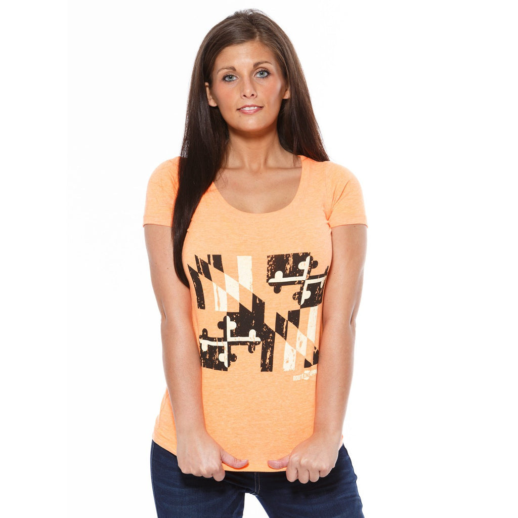 Baltimore Black & Orange Maryland Flag (Orange) / Ladies Scoop Neck Shirt - Route One Apparel