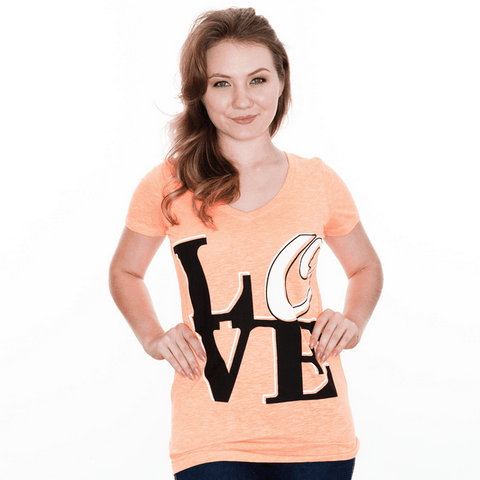 Baltimore LOVE (Orange) / Ladies V-Neck Shirt - Route One Apparel