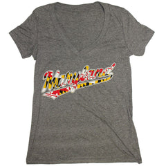 """Maryland"" Jersey Script with Maryland Flag (Premium Heather) / Ladies V-Neck Shirt - Route One Apparel"