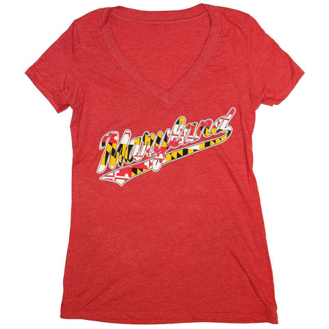 """Maryland"" Jersey Script with Maryland Flag (Red) / Ladies V-Neck Shirt - Route One Apparel"