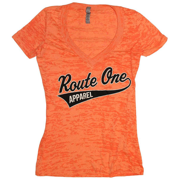 Route One Apparel Baseball Team Spirit (Orange) / Ladies Burnout V-Neck Shirt